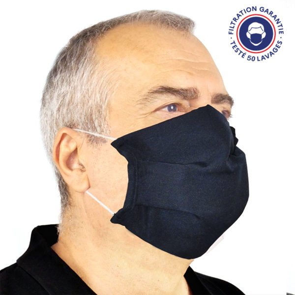 le masque de protection grand public uns1 50 lavages photo 2 bleu Marine