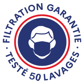 logo efficacité masques de protection 50 lavages